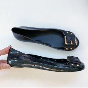 BCBG Max Azria Black Leather Eva Ballet Flats Sz 9